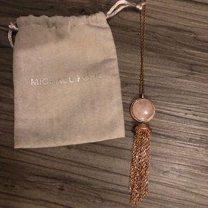 Michael Kor's  Long Rose Gold Quartz Necklace